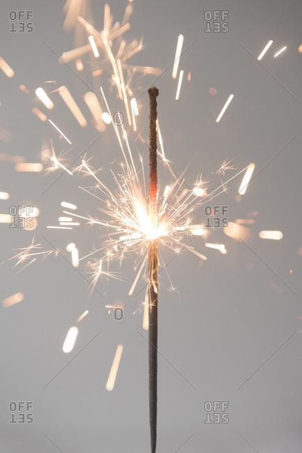 Sparks on burning sparkler