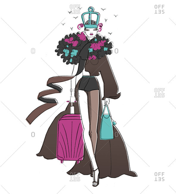 Woman with luggage surrounded by birds