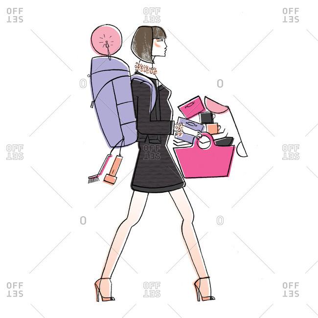Woman carrying her belongings