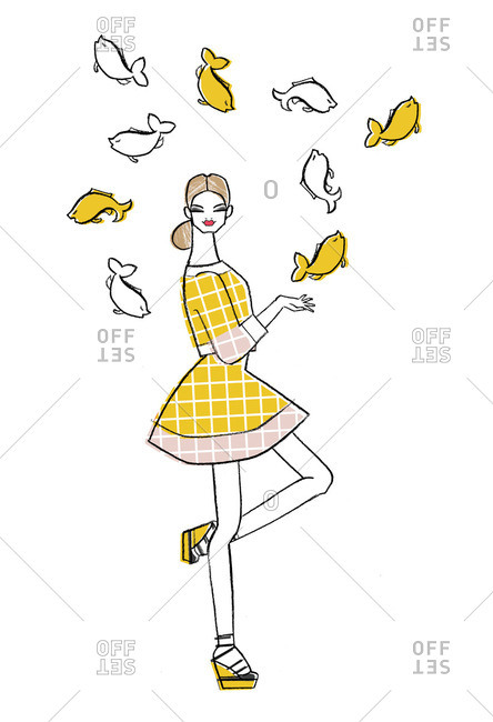 Woman surrounded by fish