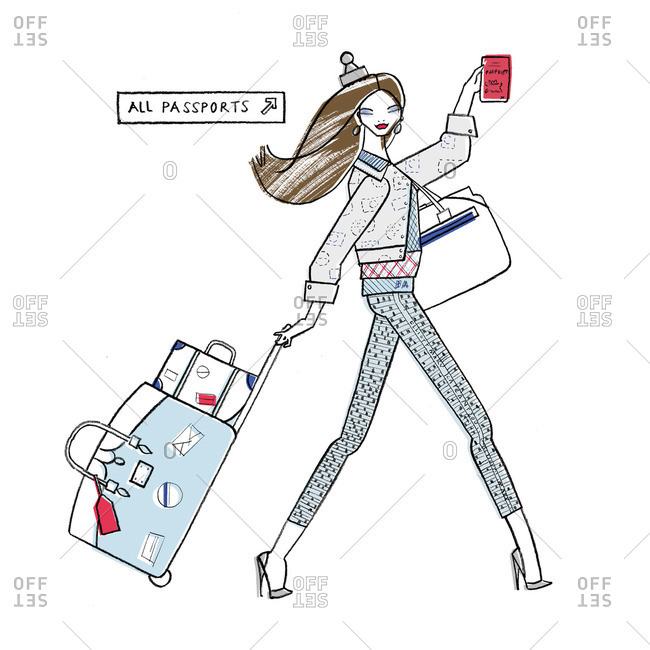 Woman with passport and luggage