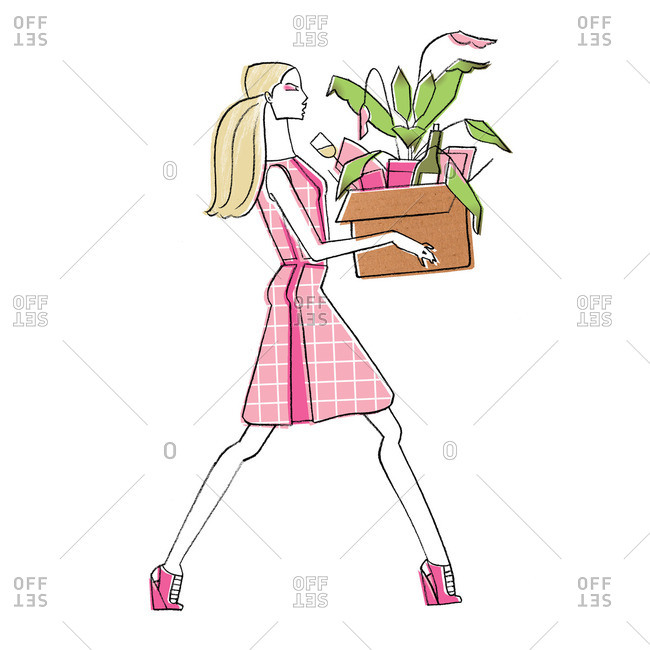 Woman with box of plants and wine