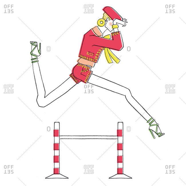 Woman leaping over a fence