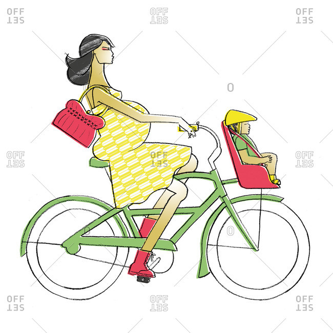 Pregnant woman on bike with child