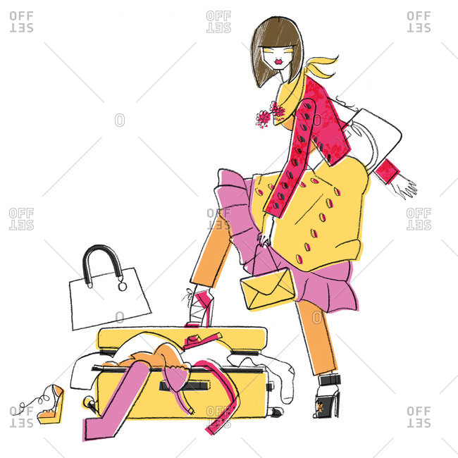 Woman filling suitcase too full