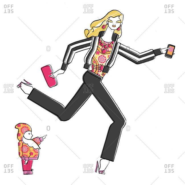 Woman running with phone by child