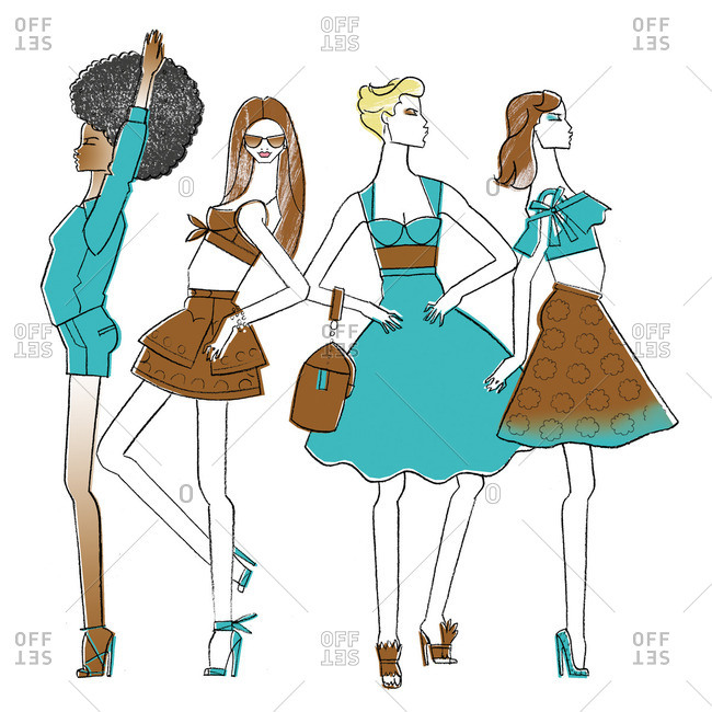 Women in various outfits
