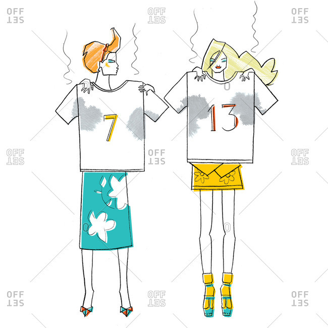 Women holding dirty numbered shirts