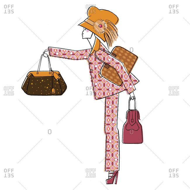 Woman with three handbags