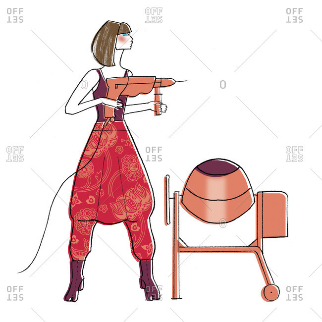 Stylish woman holding power tool