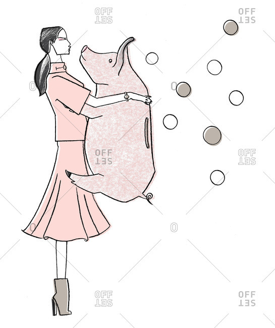 Woman carrying pig by bubbles