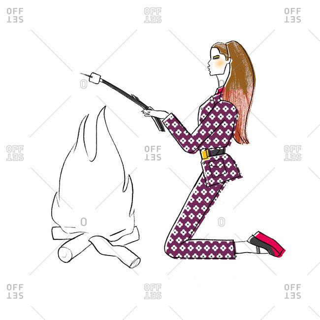Stylish woman roasting marshmallow