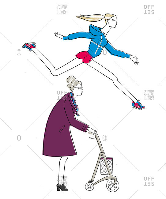 Woman jumping over old woman