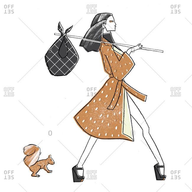 Woman carrying hobo bag