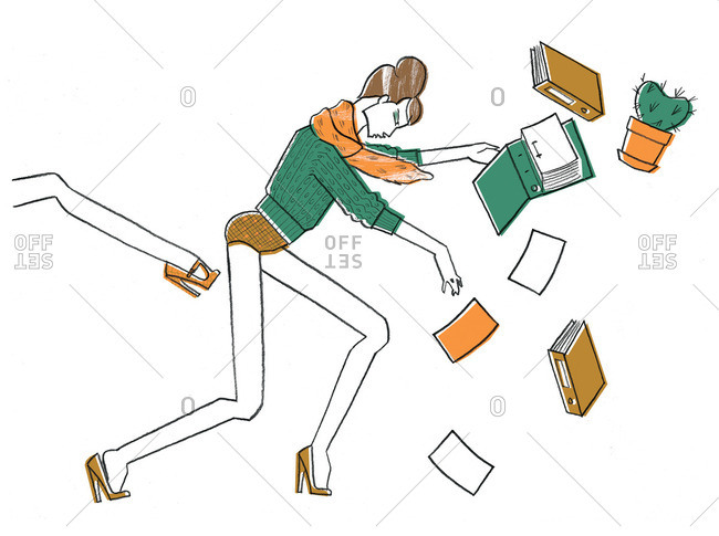 Woman dropping books getting kicked
