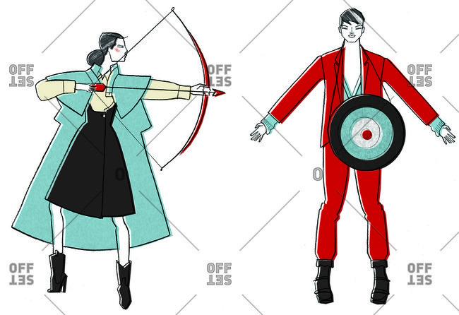 Woman shooting arrow at man