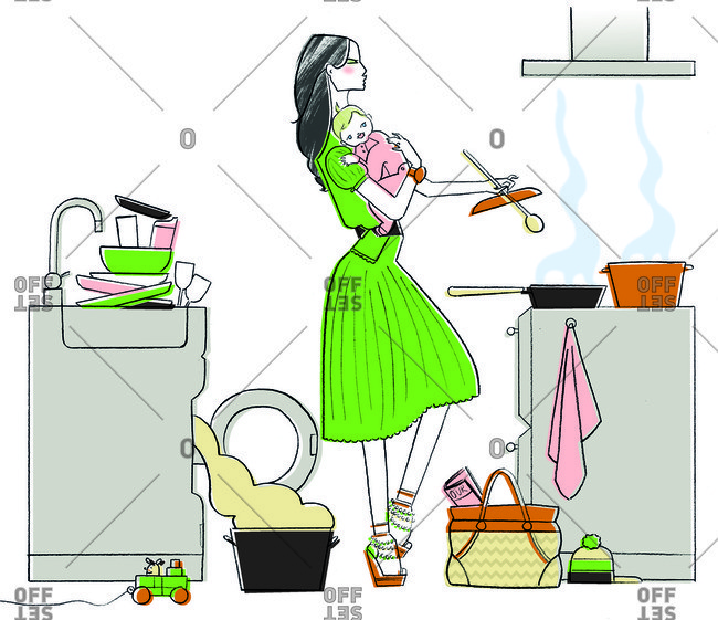 Busy woman with baby cooking