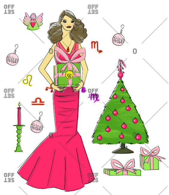 Woman in dress holding Christmas present