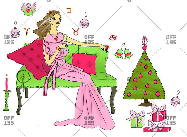 Woman having drink in Christmas setting