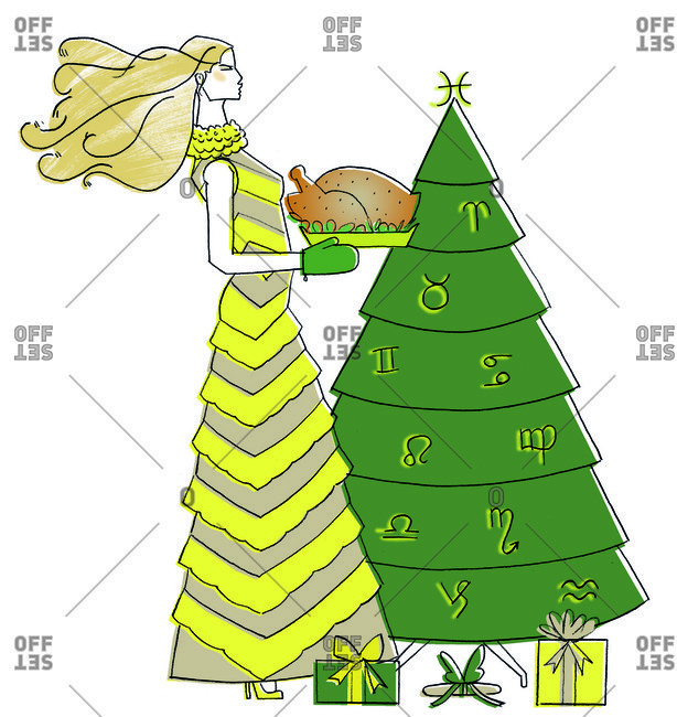 Woman with turkey by Christmas tree