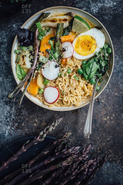 Bowl of ramen noodles with vegetables and egg