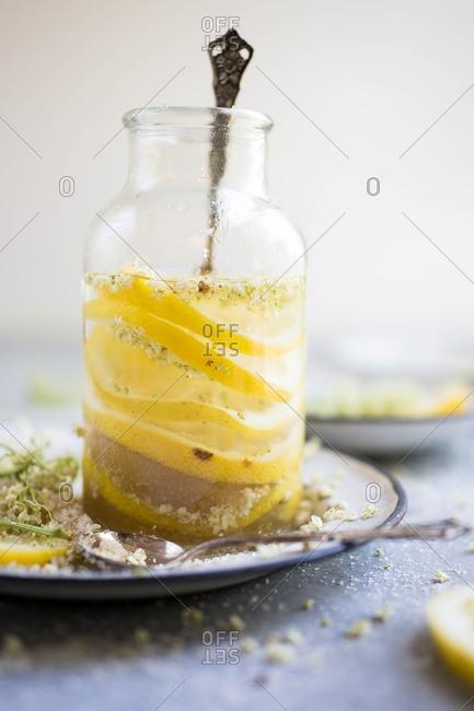 Drink made with elderflower and lemon
