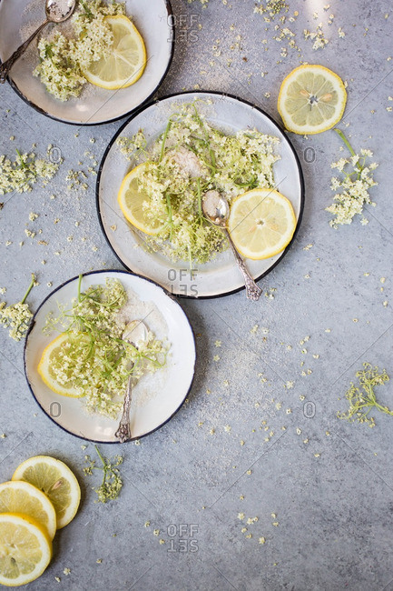 Sliced lemons and elderflowers for drink