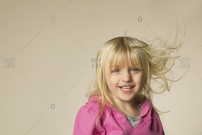 Blonde girl with windblown hair
