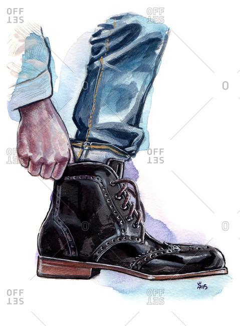 Illustration of man putting on a stylish boot