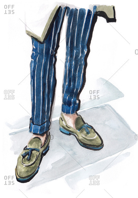 Illustration of stylish man wearing pinstripe pants and loafers