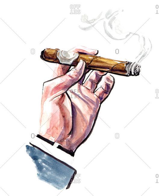 Illustration of a half burned cigar