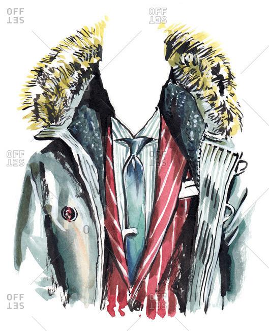 Illustration of stylish men's suit and jacket