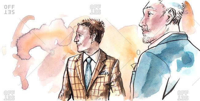 Illustration of two stylish men wearing suit jackets
