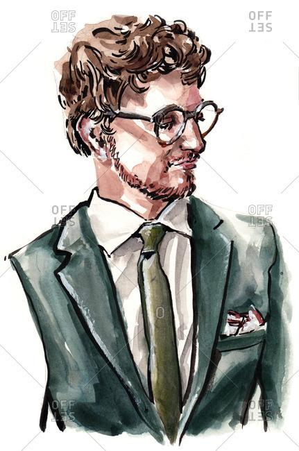 Illustration of stylish man wearing suit jacket and glasses
