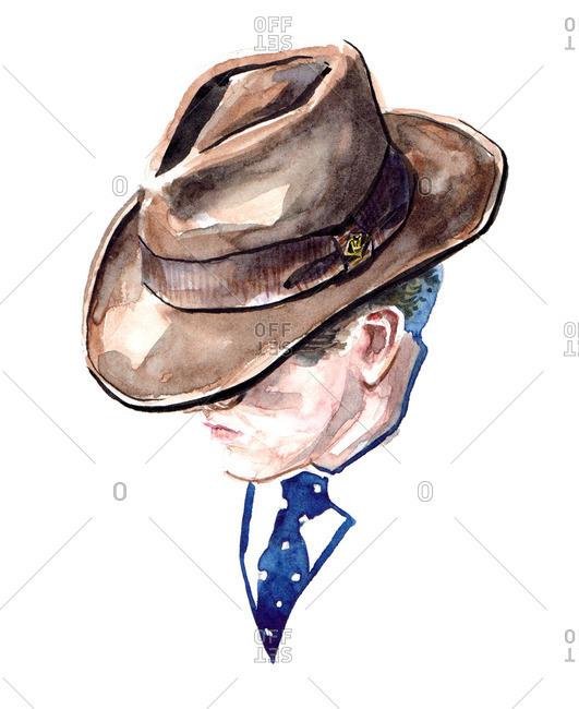 Illustration of stylish man wearing a fedora hat