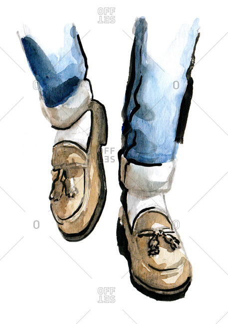 Illustration of man wearing loafers