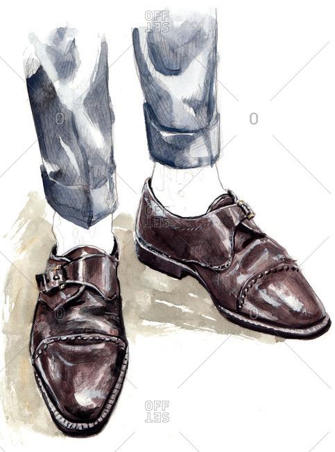 Illustration of man wearing vintage brown monk strap hoes