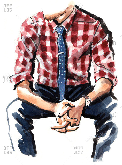 Illustration of stylish man wearing red plaid shirt and blue tie