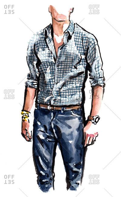 Illustration of stylish man wearing blue plaid shirt