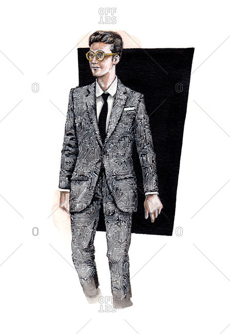 Illustration of man wearing suit with black and white pattern