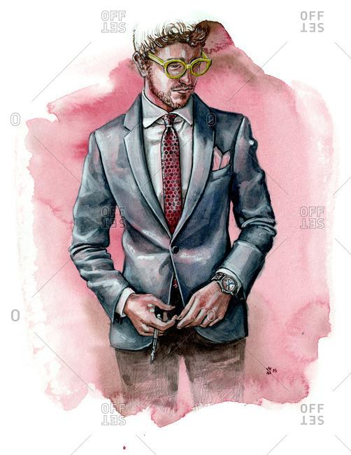Illustration of stylish man wearing suit jacket and yellow glasses