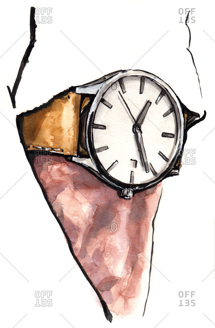 Illustration of man wearing a watch