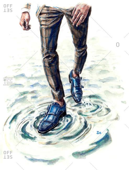Illustration of man walking on water wearing brogue shoes
