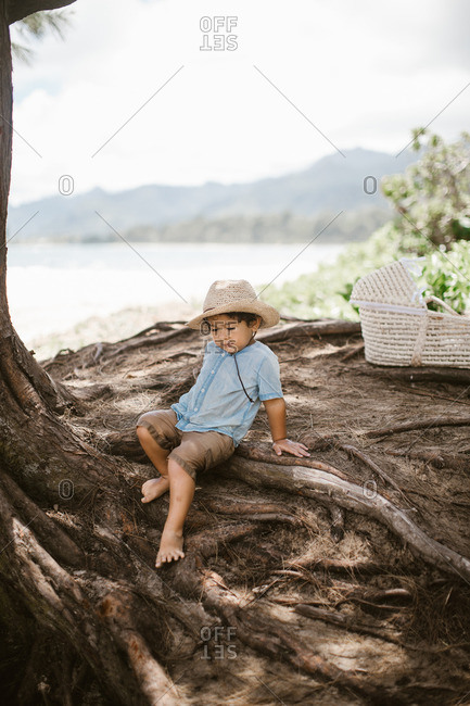 Boy in hat climbing tree roots