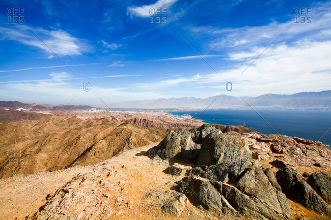 Eilat mountain range with The gulf of Aqaba in background, Israel