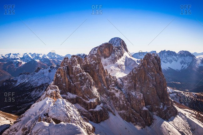 Mountain peak, Dolomites, Italy taken from helicopter