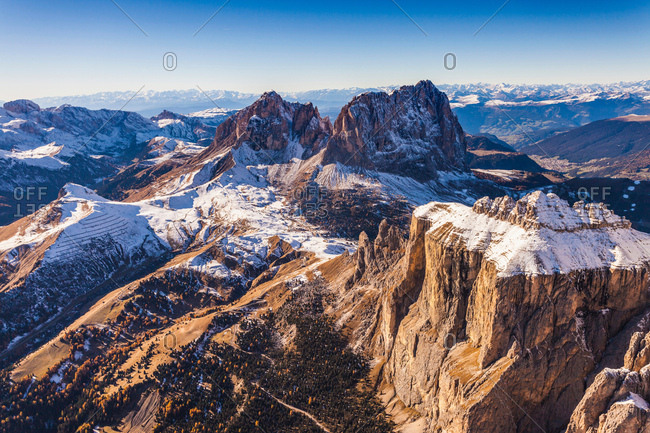 Mountain landscape, Dolomites, Italy taken from helicopter