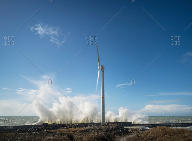 Wind turbines amidst storm waves at coast, Boulogne-Sur-Mer, Nord-Pas-de-Calais, France