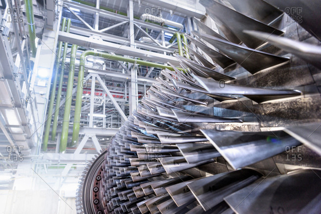 Gas turbine under repair at gas-fired power station
