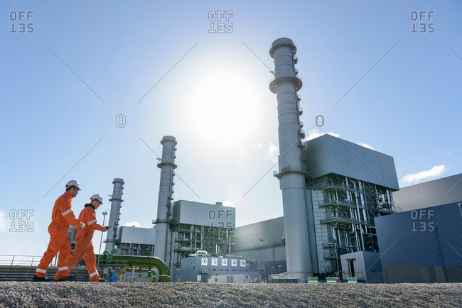 Workers at gas-fired power station